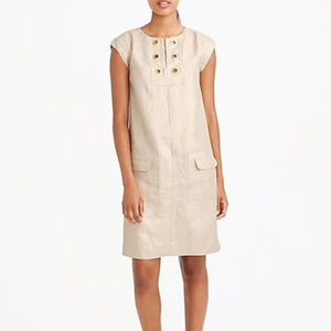 J.Crew gold metallic linen shift dress grommets